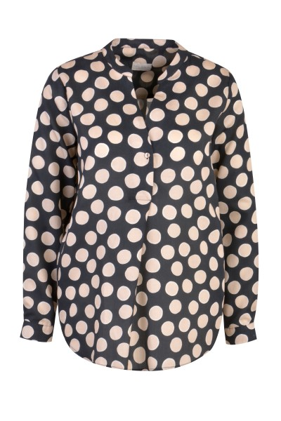 Milano Italy - Bluse, Blue - Pink dotted