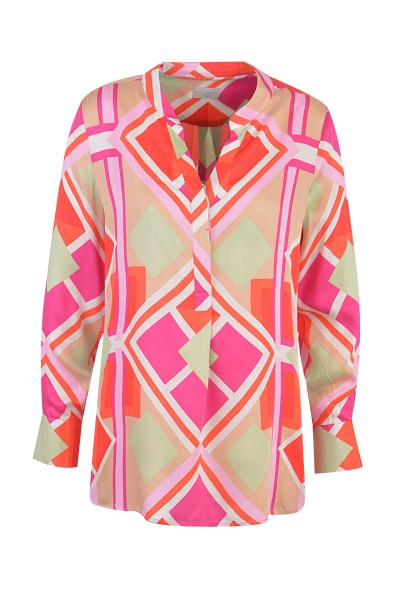 Milano Italy - Blouse, Pink - Green Print Long